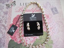"""Swarovski Signature Matching Necklace Post Earring Set """"Leaf"""" Style NEW Tag 510"""