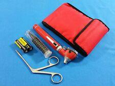 RED MINI FIBER OPTIC Otoscope ENT Diagnostic+ Alligator Forceps + Batteries KIT