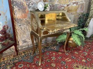 Vintage~Antique French Louis/Italian Florentine~Ladies Gold Writing Bureau,Desk