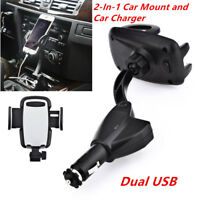 1x Black Dual USB Car Charger Holder Mount With Cigarette Lighter For Cell Phone