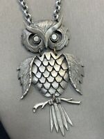 Vintage Bohemian Large Pewter Owl Charm Spirit Animal Boho Pendant Necklace 25""