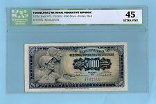 YUGOSLAVIA 5000 DINARA 1955  .G. XF # GRADING ICG 45 #