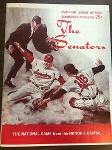 MLB BASEBALL THE SENATORS CLEVELAND OFFICIAL SCORECARD PROGRAM 1968 EXCELLENT