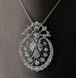 Platinum Antique Pendant No Chain w/ 2.50 ctw Round Brilliant Diamonds G VS2-SI1