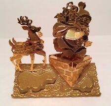 Danbury Mint 1998 Gold Christmas Ornament Santa's Arrival Roof Chimney Reindeer