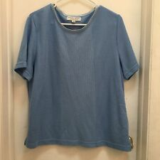 Carolyn Taylor Essentials, Ladies Top, Size L, Medium Blue, short sleeves, VGUC