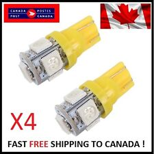 4X T10 Yellow 194 168 2825 5050 5SMD LED Bright Car Lights Lamp Bulb Peanut HID