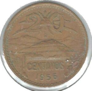 1956 Mexico Circulated Twenty Centavo Coin