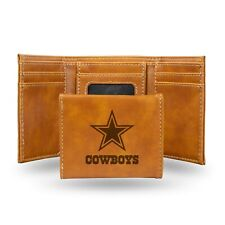 Dallas Cowboys Brown Laser Engraved Synthetic Leather Trifold Wallet NWT
