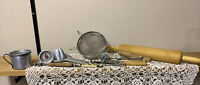 Mixed lot of vintage kitchen utensils - strainer , grater, ladle, tongs