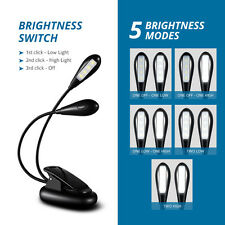 2 Arms 8 LED Clip-on Flexible Book Reading LED Light Dimmable Music Light Lamp