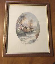 Eau Forte originale signée . Le vieux moulin .