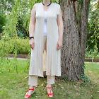 Gilet Femme Long Dentelle Manteau 40 42 44 46 48 50 Beige Letonia ZAZA2CATS new
