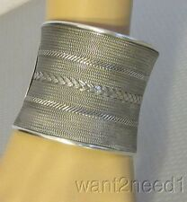 "handcrafted STERLING SILVER STATEMENT CUFF 2-3/8"" wide woven pattern 98g HEAVY"