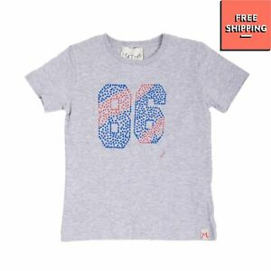 MYTHS T-Shirt Top Size 4Y Melange Effect Coated Front Crew Neck Made in Italy
