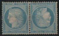 "FRANCE STAMP TIMBRE N° 37 c "" CERES 20c BLEU PAIRE TETE BECHE "" NEUF x TB  K661"