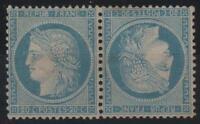 "France Stamp N° 37 C "" Ceres 20c Blue Pair Head Spade "" New X Very Good K661"