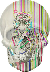 Gothic Skull Double Exposure Tiger Stripes View Wall Sticker Mural Art Decal 2A
