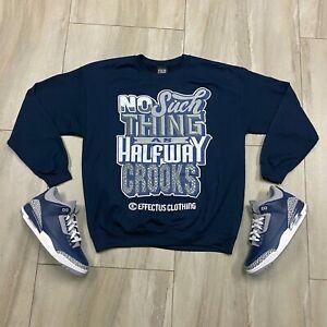 Sweater to match Jordan Retro 3 Navy Cement Sneakers. Crooks Crewneck