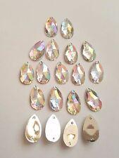 50pcs Crystal AB 18mm*11mm Flat Back Tear Drop Sew On Acrylic Rhinestones