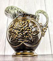 Vintage Hull Brown Green Drip Glaze Pitcher A50 Art Pottery Rose Floral Design