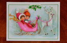 Vintage UNUSED Christmas Card PRETTY GIRL & BOY COUPLE IN PINK w/WHITE DEER