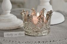 Teelichthalter Krone Kerzenleuchter Silber Teelicht Shabby Chic Vintage Landhaus