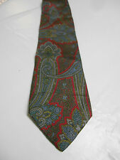 Oakton LTD Red Blue and Green Paisley Silk Necktie Made in the USA Vintage