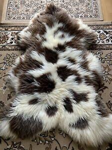 Fur Braun / White, Soft Schaffell Eco fur Carpet Large Approx. 135 x 80 X 13 CM