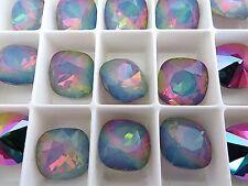 1 White Opal Electra Swarovski Crystal Square Cushion Cut  Stone 4470 12mm