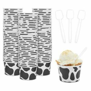 Cow Paper Ice Cream Cups with Spoons, Farm Birthday Party Supplies (8 oz, 100x)