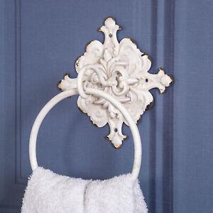 Antique White Towel Rail Ornate Shabby Vintage Accessory Bathroom Home Wall Chic