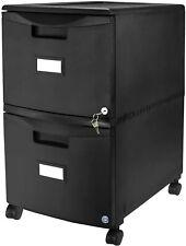 Storex Plastic 2 Drawer Mobile File Cabinet All Steel Lock And Key Black