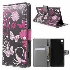 for Sony Xperia Z4/z3 Plus Quality Design Luxury PU Leather Wallet Case Cover Butterflies and Vine