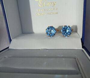 B'FUL VINTAGE 1950'S/60'S HIGLY FACETED AQUA COLOURED CRYSTAL/GLASS CUFF LINKS