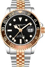 Stuhrling Aqua-Diver 3968 Swiss Quartz Men's 2 Tone Bracelet Black Dial Watch