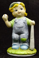 Baseball Player Child in Overhauls with Ball and Bat Ceramic Figurine