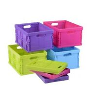 FOLDING BASKET CRATE STORAGE ITEMS HANDLES HOME STORE COLOURFUL