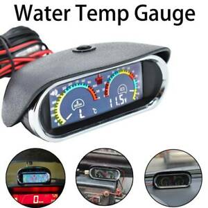 Horizontal 2 In 1 Car Water Temperature Gauge Voltmeter Temp Alarm W/ Sensor