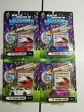Muscle machines import tuner lot of 4 1997 toyota supra, red, blue, white,purple