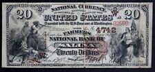 1882 $20 National Bank Note Salina Kansas (1 of 14 Known Large Notes)