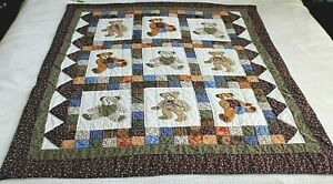 Vintage Hand Pieced Hand Quilted Teddy Bear Quilt or Wall Hanging in Earth Tones