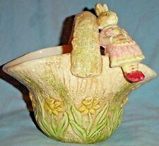 "Easter Basket Planter w Lady Rabbit Sitting on Rim Embossed Daffodils Ceramic/7"""