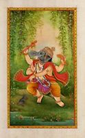 Handmade Miniature Art Of Lord Ganesha Painting Finest Religious Artwork On Silk