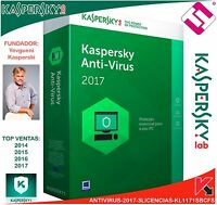 KASPERSKY ANTIVIRUS 2017 3 LICENCIAS WINDOWS XP 7 8 8.1 10 MAC ENVIO POR EMAIL