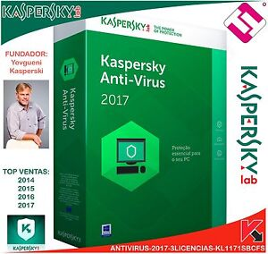 Kaspersky Antivirus 2017 3 Licenses Windows XP 7 8 8.1 10 Mac Shipping Per Email
