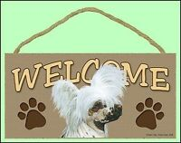 "Chinese Crested 10"" x  5"" Wooden Welcome Dog Sign"