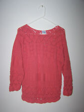 Bedford Fair women Sweater Size Petite Sm open cable knit round neck Tangerine