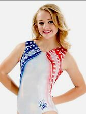 Nastia Liukin Gk Elite Gymnastics Leotard Usa Stars & Stripes Patriotic Flag Cm