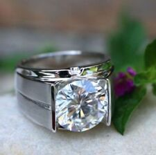 3.00 ct Round Cut Solitaire Diamond Engagement Men's Ring In 14K White Gold Over